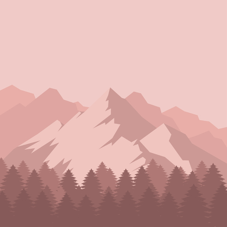 Flat Mountain landscape silhouette with snow. Camping travel climbing icon, hiking, trakking and geology trip nature element