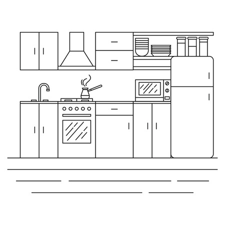 Line Kitchen interior with furniture. Cozy room with stove, cupboard, dishes and fridge. Cooking equipment, tool, utensil and electronics