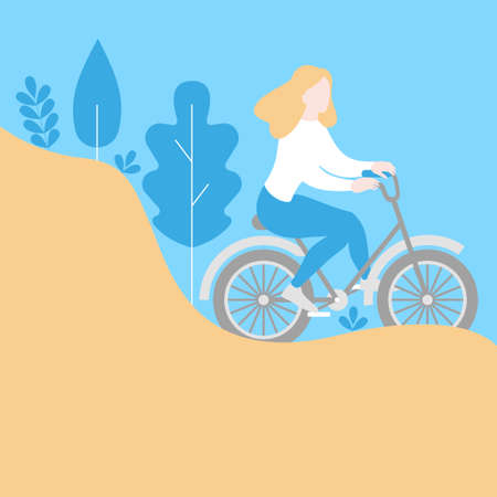 Healthy lifestyle in eco city, urban ecological transport banner. Travel bicycle rent, cartoon cute girl character riding bike. Ecologic park landscape template Фото со стока - 127646885
