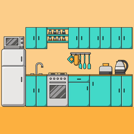 Line Kitchen interior with furniture. Room with stove, cupboard, toaster, kettle and fridge. Cooking equipment, tool, utensil and electronics