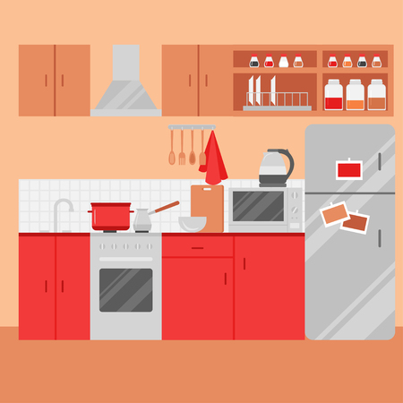 Flat Kitchen interior with furniture. Homely Room with stove, cupboard, microwave, dishes and fridge. Cooking equipment, tool, utensil and electronics