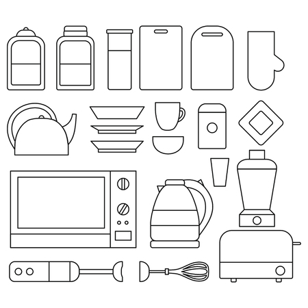 Set of Line Kitchen isolated elements. Cooking equipment, tool, utensil and electronics icon. Teapot, microwave, blender and toaster Фото со стока