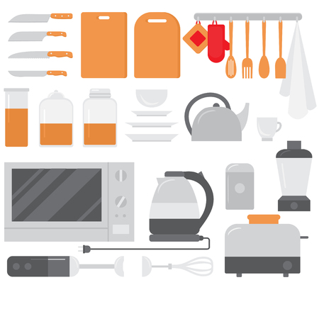 Flat Cooking equipment set. Chef design elements and tools icons. Kitchen dishes and appliances. Фото со стока - 127430030