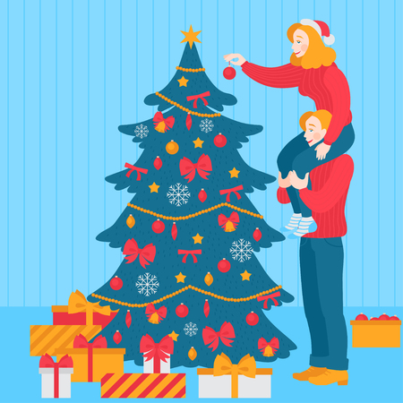 PrintChristmas tree decoration, happy love couple decorate together. Traditional holiday celebration party. Boyfriend and girlfriend. Woman and man character with gifts. New year greeting card. Иллюстрация