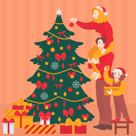 Happy family decorate Christmas tree together. Traditional holiday celebration party, cheerful parents with child. Mother, father and aughter in Santa hat. New year greeting card