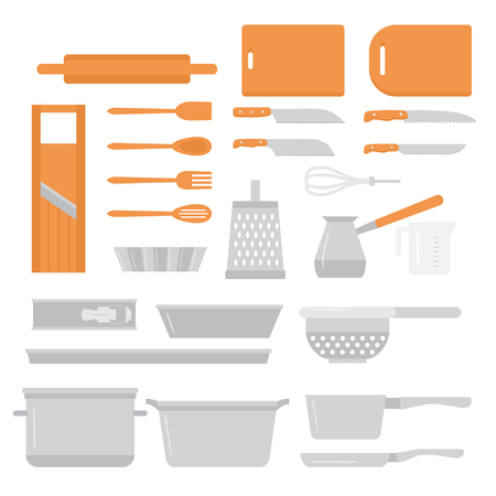 Flat Cooking equipment set. Chef design elements icons. Kitchen dishes baking tools, knifes and pans.
