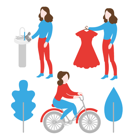 Eco lifestyle. Save water. Evironment care, ecology protection. Second hand, charity and donation. Bicycle ecological transport Иллюстрация