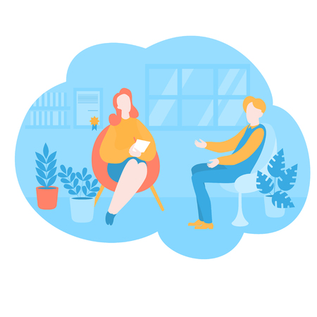Flat psychologist office, patient having psychological therapy and counseling with therapist. Psychotherapy session. Mental health, healthcare and psychology. Psychiatrist consultation