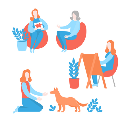 Flat psychologist with patient having psychological consultation. Psychotherapy session, art and pet therapy. Mental health care and psychology Фото со стока - 127028157