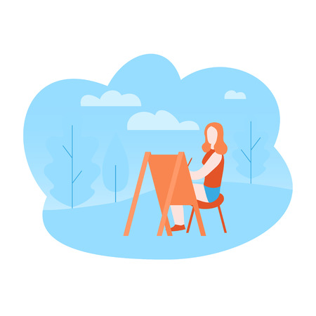 Flat art therapy in the park. Artist drawing on open air. Girl painting outdoor. Иллюстрация
