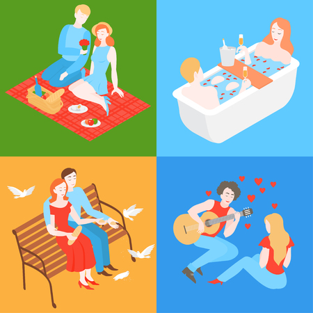 Flat couple outside on romantic date. Valentine day picnic in park with food basket and wine. Boyfriend and girlfriend dating. Boy play the guitar for girl. Isometric man with love song.
