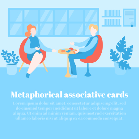 Metaphorical associative cards. Flat psychologist office, patient having psychological therapy and counseling with therapist. Psychotherapy session. Mental health, healthcare and psychology template