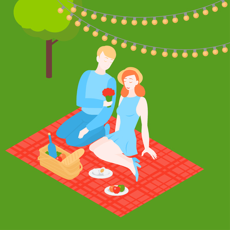 Isometric couple outside on romantic date. Valentine day picnic in the park with food basket and wine. Happy boyfriend and girlfriend dating. Cartoon man and woman have relationship. Family and love