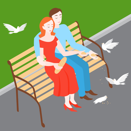 Man and woman feeding birds in park on the bench. Isometric couple Romantic date. Girl and boy in love relationship feed pigeons. Family walk Иллюстрация
