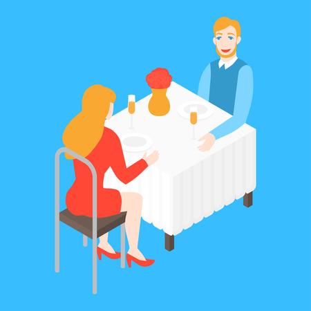 Valentinstag romantisches Date im Restaurant. Isometrisches Paar im Café beim Abendessen. Mann und Frau-Dating. Mann und Frau gehen aus. Beziehungsjubiläum und Liebe