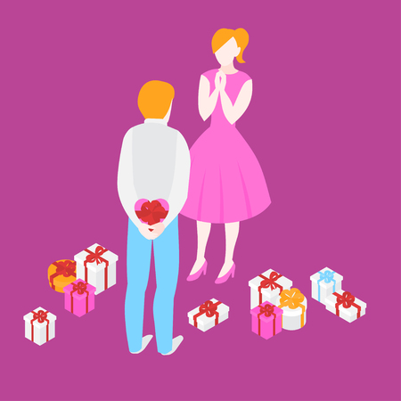 Valentine day, anniversary and birthday celebration. Man giving romantic gift to woman. Love couple with present boxes on 14 february.