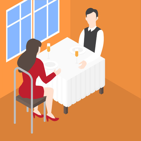 Valentines day romantic date in the restaurant. Isometric couple in cafe having dinner. Man and woman dating. Husband and wife. Relationship anniversary and love. Иллюстрация