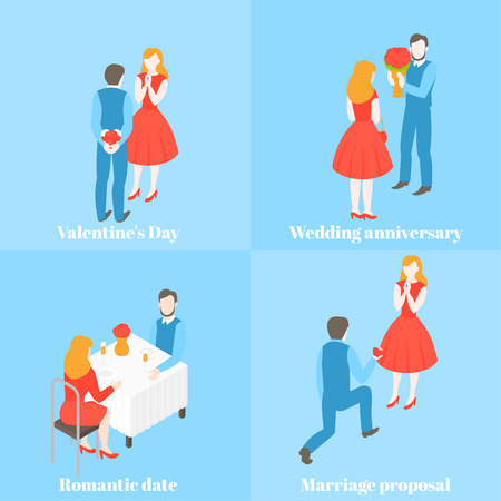 Valentine day celebration. Man giving gift and flower to woman. Love couple with present box. Wedding proposal and relationship anniversary. Romantic date set. Ilustração