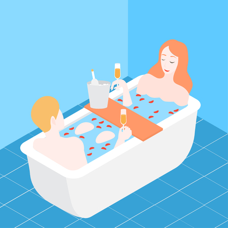 Man and woman taking bubbled bath with rose petals and drinking champagne. Romantic date in Isometric wellness hotel bathroom. Couple in relationship. Happy valentine day spa