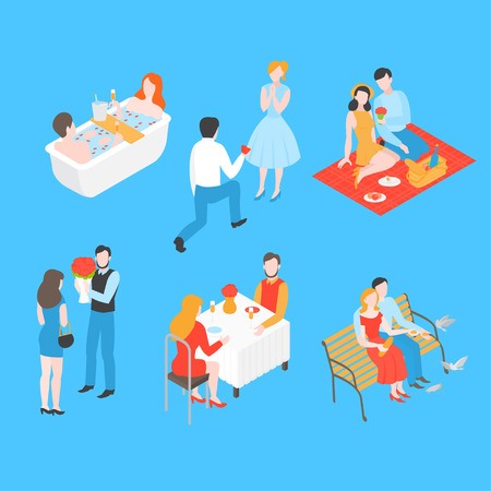 Isometric Valentine day set. Wedding proposal and relationship anniversary. Romantic date picnic in park, bath in bathroom and Love couple in cafe. Man giving gift and flower to woman.