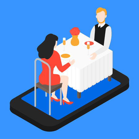 Valentines day romantic date in the restaurant. Isometric couple in cafe having dinner on smartphone screen. Phone app for food. Man and woman speed dating. Relationship online application