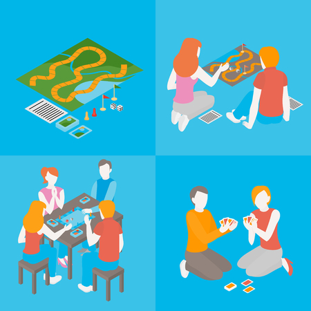 Set of indoors activity and hobby. People playing a board game with cards, field. Isometric friends, couple and family spend time together. Group of girls and boys communicate. Teens and kids play.
