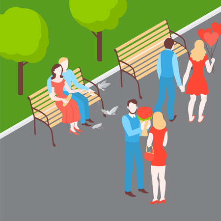 Valentines day romantic date in the park. Isometric couple. Man and woman feeding birds on the bench. Girl and boy walk. Husband and wife go out. Relationship anniversary and love. Иллюстрация