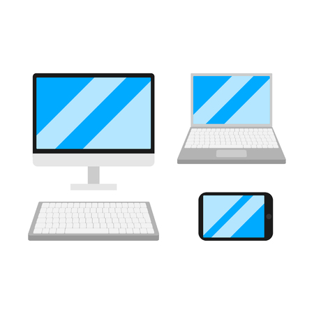 Set of flat devises. Computer, Laptopand Mobile Phone Isolated. Gagets empty screen of smartphone, pc monitor. Portable and wireless electronic Иллюстрация