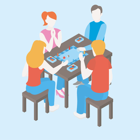 People playing a board game with cards. Isometric friends and family spend time together at weekend. Group of girls and boys communicate. Indoors activity and hobby for teen. Happy childhood Иллюстрация