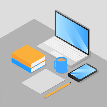 Isometric work place freelancer, gamer and office employee. Laptop and Mobile Phone Isolated. Devises with empty screen. Books, cup of coffee and pencil