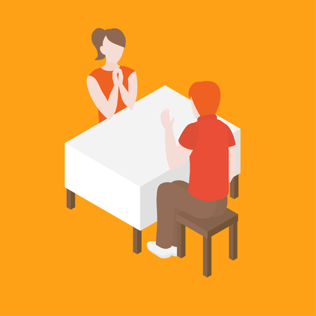 Romantic date in the restaurant. Isometric couple in cafe having conversation. Man and woman dating. Husband and wife at the empty table. Relationship anniversary.