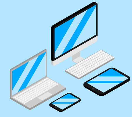 Set of isometric gagets. Computer, Laptop, Tablet and Mobile Phone Isolated. Devises empty screen of smartphone, pc monitor. Portable and wireless electronic