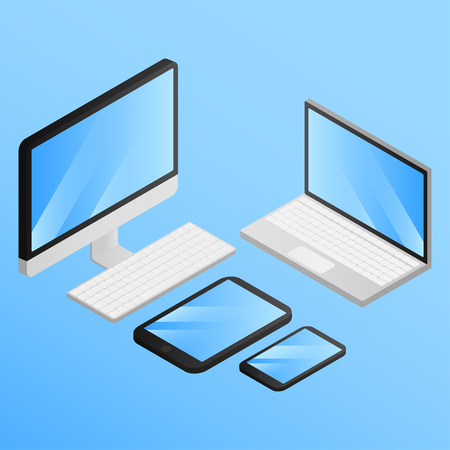 Set of isometric gagets. Computer, Laptop, Tablet and Mobile Phone Isolated. Devises empty screen of smartphone, pc monitor. Portable and wireless electronic Фото со стока - 125708518