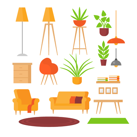 Set of isolated flat furniture cofee table, armchair, lamps. Couch, nightstand, shelf and plants. Modern design of objects for house.