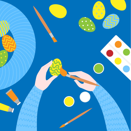 Flat Easter paint class. Top view of art equipment colors, brush and palette on a table. Creative Eggs painting Workshop. Cartoon greeting card and postcard. Иллюстрация