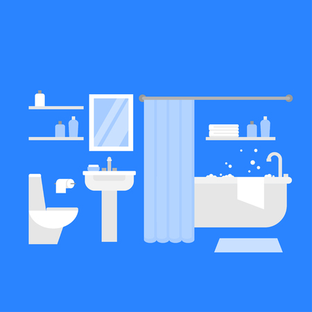 Flat bathroom interior design furniture. Bathtub, sink, toilet and mirror. Home bath object,