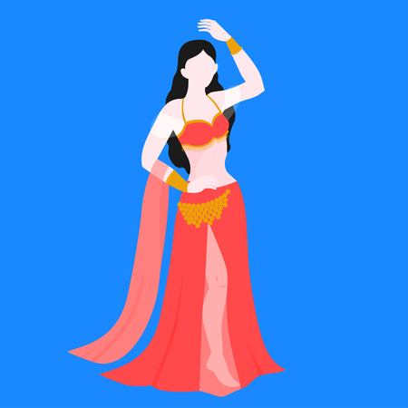 Belly dance, traditional dancer in national costume. Oriental performance dancing, indian and arabic culture.