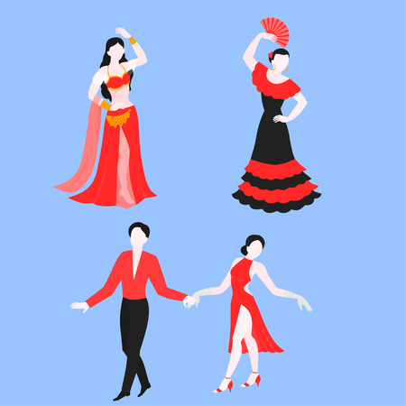 Flat set of flamenco, latino and belly dance, traditional dancer in national costume. Performance dancing.