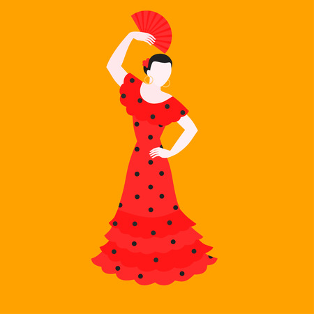 Flat flamenco dance, traditional dancer in national spanish costume. Performance dancing in Spain.