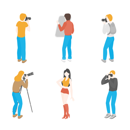 Isometric set of photographers with professional equipment. Photo Journalist occupation. Fashion, reportage and advertising photograph and camera