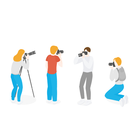 Isometric set of photographers with professional equipment. Photo Journalist occupation. Reportage and advertising photograph and camera