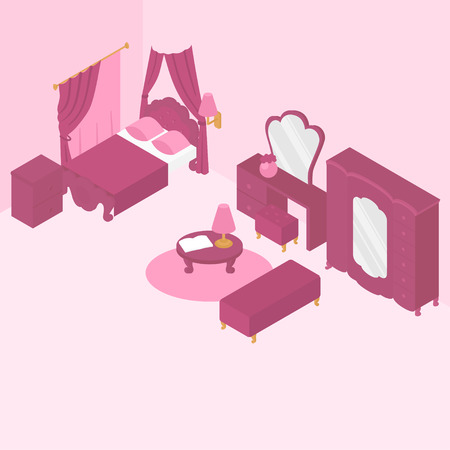 Flat isometric bedroom interior furniture