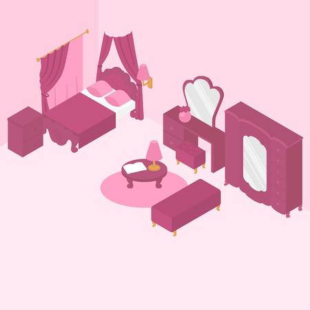Flat isometric bedroom interior furniture
