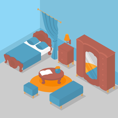 Flat isometric interior of bedroom, wooden furniture with classic design. Apartment, traditional living room decoration. Nightstand, bed and drawers. Wardrobe, mirror and ottoman Иллюстрация