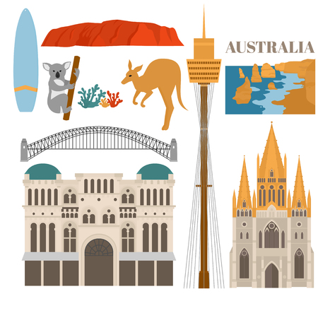 Flat Sightseeing and landmark. Architecture of Australia. St pauls cathedral melbourne, Queen Victoria Building, Harbour bridge, Sydney tower, Uluru and The Twelve Apostles