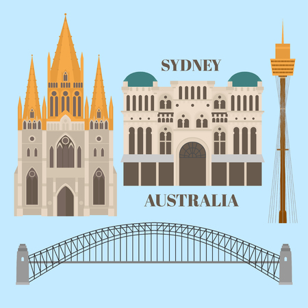 Flat Sightseeing and landmark. Architecture of St pauls cathedral melbourne, Queen Victoria Building, Harbour bridge, Sydney tower