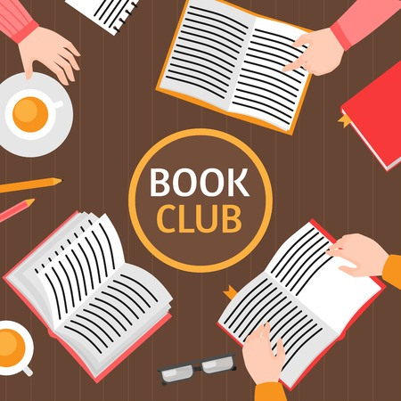 Book club template. Education and reading. Flat Top view library table with hands. Meeting in cafe with tea