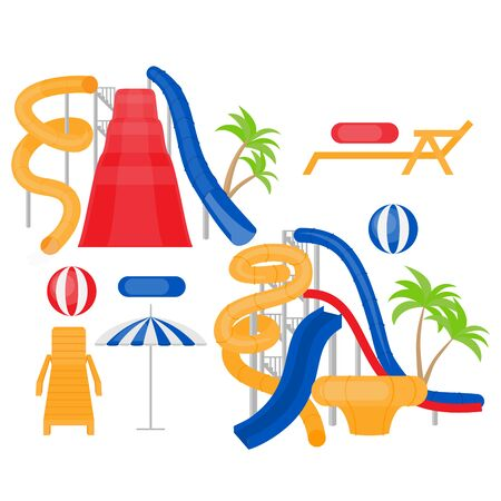 Flat Aqua park equipment. Cartoon Family water park with slides, lifebuoy, chaise-longue and umbrella. Summer vacation entertainment, active holiday rest Иллюстрация