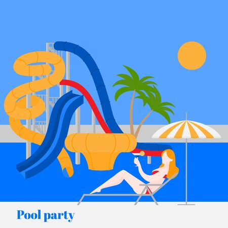 Pool party in water park with slides and chaise-longue under umbrella. Summer vacation entertainment, active holiday rest. Flat Cartoon Aqua park extreme attraction