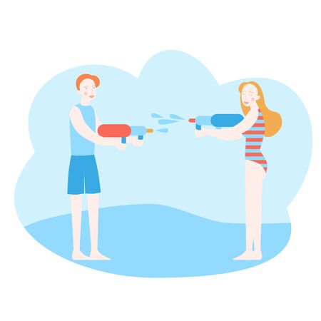 Young man and woman having a water fight with plastic gun. Cartoon Girl and boy playing summer battle with toys Ilustracja